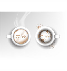 Isolated cup of coffee collection latte time vector