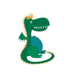 little green dragon cartoon character mythical vector image