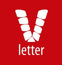 Logo V letter from abstract modules vector image vector image