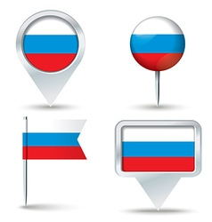 Map pins with flag of Russia vector image