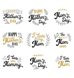 mothers day lettering set with hand-drawn elements vector image vector image