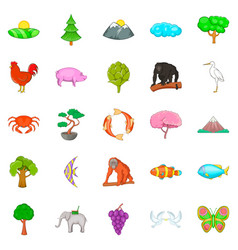 Natural diversity icons set cartoon style vector