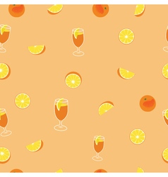 Orange with peel glass of juice and orange silce vector