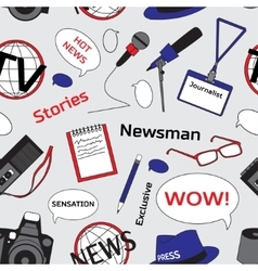 Pattern with journalism icons vector image vector image