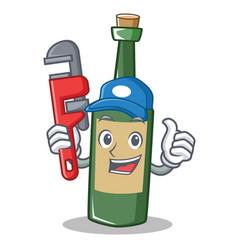 Plumber wine bottle character cartoon vector