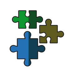 puzzle pieces jigsaw strategy shadow vector image