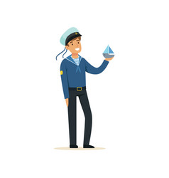 sailor man character in blue uniform holding small vector image vector image