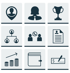 Set of 9 human resources icons includes phone vector