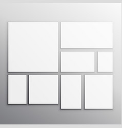 Set of white mockup cards vector