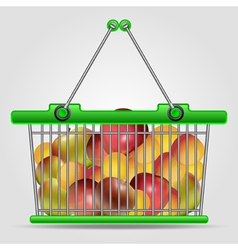 Shopping basket with fruits vector