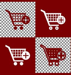 Shopping cart with add mark sign bordo vector
