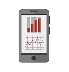 Smartphone device with statistics graphic vector