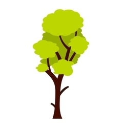 Tall green tree icon flat style vector