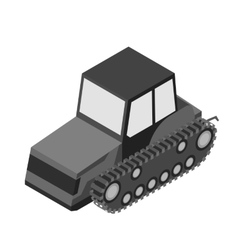 Tracked tractor icon in monochrome style isolated vector