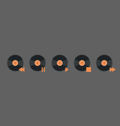 Vynil disk music player volume icon set audio vector