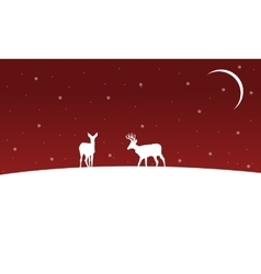Winter christmas landscape deer on hill vector