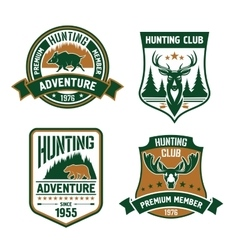 Hunting sport club shield icons vector image