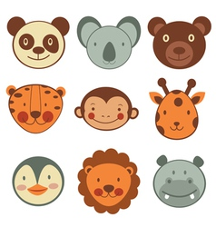 Animal head icons vector