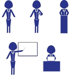 Set of woman business icons vector