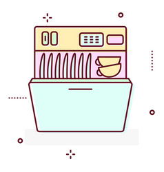 Washing machine line style icon vector