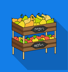 Raw food lying on rack shelves icon in flate style vector