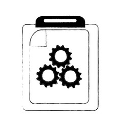 clipboard with gears icon image vector image