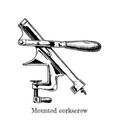 Mounted corkscrew vector