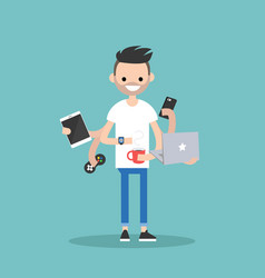 multitasking millennial concept young bearded man vector image