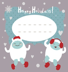 Winter holiday card with dancing yeti vector