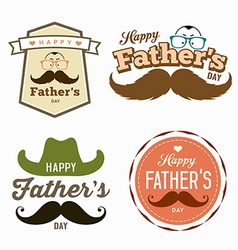 Happy fathers day colorful labels logo set vector
