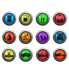 Oil and petrol industry icons set vector