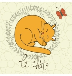 Cute cat character with french vector