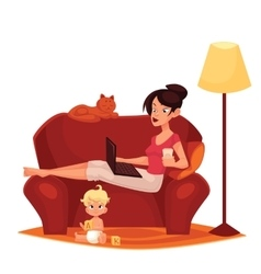 Young mother is working at home vector