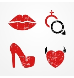 Woman and passion symbols vector image