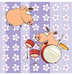 background with pigs vector image vector image