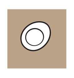 Boiled chicken egg cut in half sketch style vector