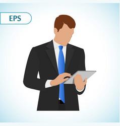 Businessman holding digital tablet pc portrait of vector