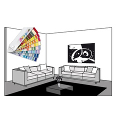 bw room and color guide vector image vector image