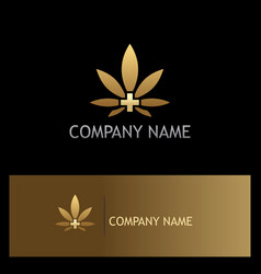 Cannabis leaf medic gold logo vector