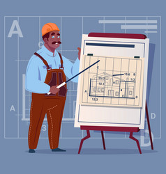 cartoon african american builder explain plan of vector image