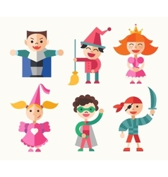 Children in carnival costumes - flat design vector