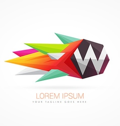 colorful abstract logo with letter W vector image