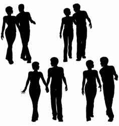 couples walking vector image vector image
