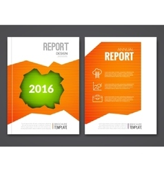 Cover report business orange green hole geometric vector