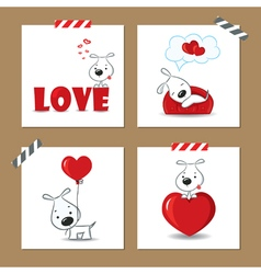 Cute valentines day cards with funny puppy vector