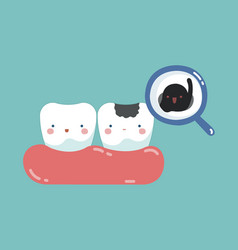 Decayed tooth and bacteria tooth and teeth of de vector