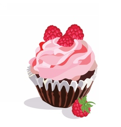 Delicious raspberry Cupcake isolated vector image vector image