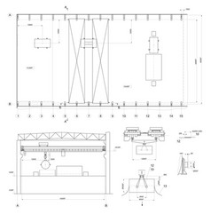 drawing of industrial premises with crane vector image vector image