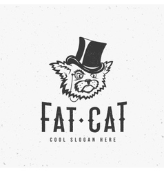 Fat Cat Abstract Vintage Sign Symbol or vector image vector image