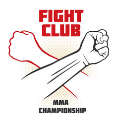 Fight club poster with strong hand emblem vector